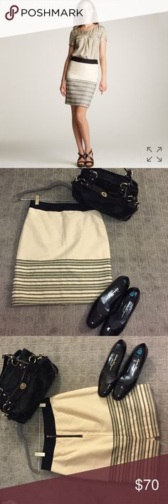 J Crew afternoon sale 40.00 J Crew Horizen Stripe Pencil Skirt, bought this and never wore. J. Crew Skirts Midi