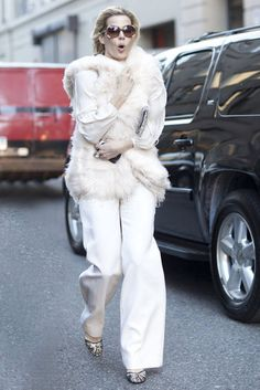 New York Fashion Week Fall 2012 Street Style white fur, white