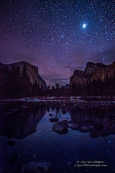 Yosemite Valley by Starlight, California