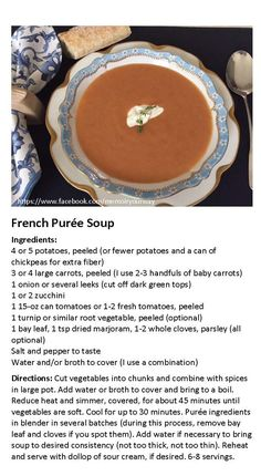 """This recipe for a favorite French vegetable soup is based on the soup my French """"grand-maman"""" used to make when I lived with a host family in France."""