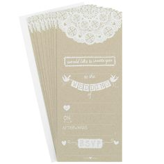 kraft wedding invitations pack 10 from Paperchase