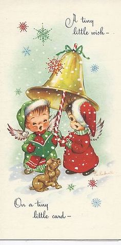 Eve Rockwell Angels Ringing Bells Vintage Christmas Card ~