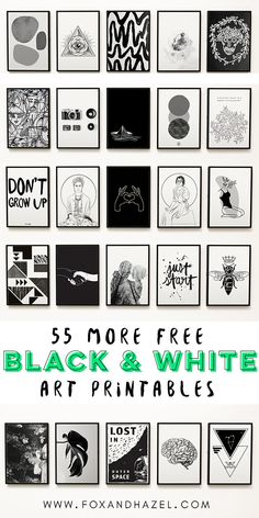 55 More Free Black and White Art Printables   Fox + Hazel   free art + designs