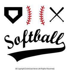 Illustrations - Set of softball or baseball vectors. Vector illustrations of softball, baseball, home-plate, softball or baseball bats and softball sports lettering with sports tail. Silhouette Images, Silhouette Vinyl, Silhouette Cameo Projects, Silhouette Machine, Silhouette Design, Silhouette Curio, Vinyl Crafts, Vinyl Projects, Softball Clipart