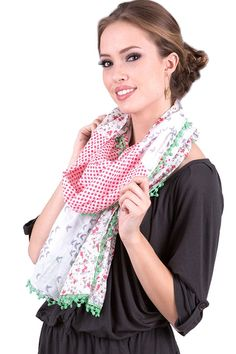 Women's Osaka Floral Polka Bird Cotton Fashion Scarf formal, dressy scarves, pashmina shawls, shawls, wraps, cute, pretty, unique scarves, holiday scarf, holiday gifts for women, affordable, easy to wear, versatile shawls, designer scarves, stylish, modern, trendy,
