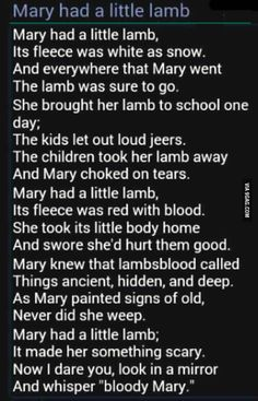 "Marry ""had"" a little lamb"