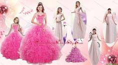 Beading and Ruffles Ball Gown Quinceanera Dress and Long Dama Dresses and Beading and Ruffles Litter Girl Dress