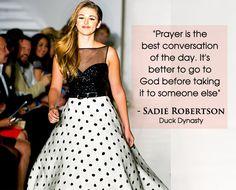 Sadie Robertson Beautiful Quote on Prayer - Graceful Chic