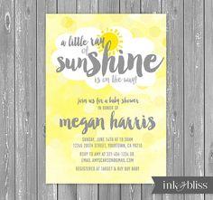 Wenig Ray of Sunshine Einladung für Baby-Dusche - grau Gray Yellow Gold Sun - DIY druckbare digitale Datei {drucken verfügbar}