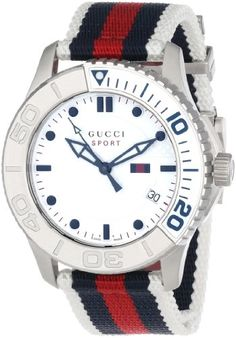 """2bb66d240fc Awesome Gucci Unisex YA126239 """"G Timeless"""" Stainless Steel Watch with  Canvas Band – Collecting"""