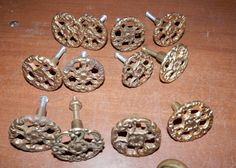 12 fancy cast brass furniture knobs cleaning out my stash by BandCEmporium, $29.95