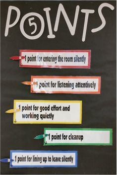 points board using Michael Linsin's Classroom Management for the art teacher book