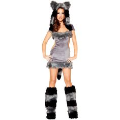 Women's Sexy Naughty Raccoon Deluxe Costume ($60) ❤ liked on Polyvore featuring costumes, halloween costumes, multicolor, raccoon costume, tail costume, heart costume, sexy lady costumes and deluxe costumes