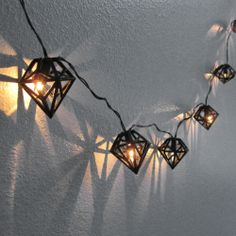 Diamond shaped string lights in black - 3D printed geometric garland ornament wall decor, by FabParlor.
