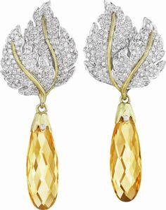 BUCCELLATI Citrine and Diamond Ear Pendants.