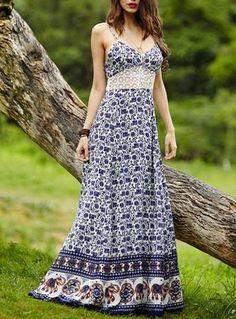 Bohemian Print Maxi Dress Lace Insert Sleeveless