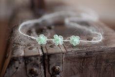 Dainty Newborn Tieback, Tiny Mint Green Flower and Mohair Baby Headband - Great Photo Prop
