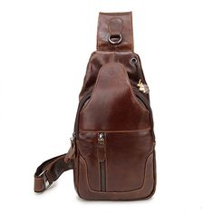 Sale 15% (36.78$) - Ekphero® Men Genuine Leather Vintage Chest Bag Casual Crossbody Bag