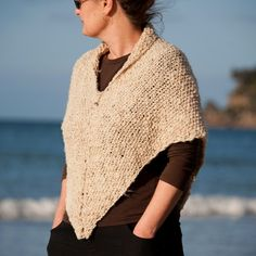 Wild Seas Craftorium Hippie Art, Hand Knitting, Shawl, Upcycle, Triangle, Ivory, Pullover, Trending Outfits, Creative