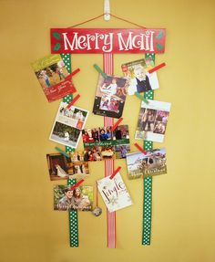 Show off your adorable Christmas cards with this cute Merry Mail display!  This listing includes:  • 18x4 hand painted wooden sign, painted red