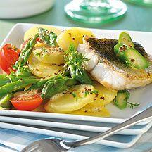 Weight Watchers - Aardappel-aspergesalade met gebakken snoekbaarsfilet – 8pt