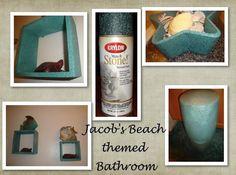 Jacob's beach themed bathroom using blue textured spray paint
