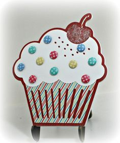 """MME """"Winter Wonderland"""" striped paper; Cricut cupcake (Straight from the Nest); Candi dots (sprinkles)"""