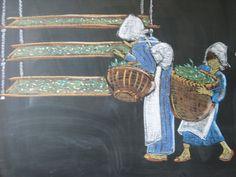 Waldorf ~ 3rd grade ~ Fibers & Clothing ~ Silk Cocoons ~ chalkboard drawing