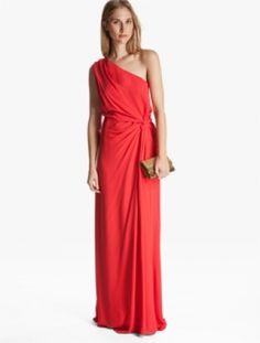 ONE SHOULDER RUCHED GOWN - Halston Heritage