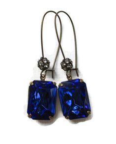 Art Deco Earrings. Sapphire Blue Jewelry by ParisienneGirl, $19.00