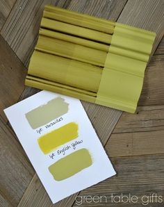 Chalk Paint® mix of Versailles & English Yellow with clear wax, tinted wax, and dark wax. Follow Green Table Gifts on Facebook for Mixology Monday! #chalkpaint #yellow #colormix