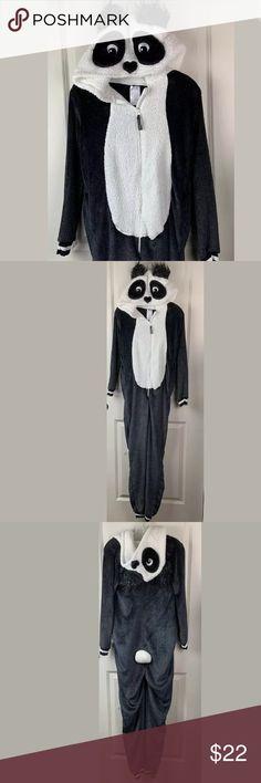 NWT Girls Footed Fleece Pajamas Size 4 5 Blue Panda Winter Pjs Jammies XS NEW