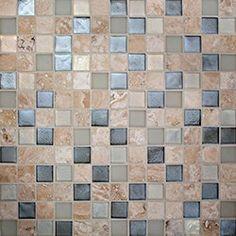 "Oceanside Glasstile...Collection Name: Harmonia...Color Components: ...Glass: Oxygen Irid, Oxygen Matte, Platinum Irid...Travertine: Cream Blend...Item Description: 7/8"" x 7/8"" Travertine and ...Item Description: Glass Mosaic Blend...Square Feet Per Sheet: 1.02...Nominal Size: 12 1/8"" x 12 1/8""...Thickness: .25""...Sample Item Number: 82149"