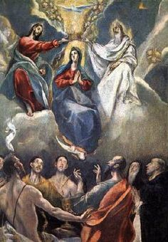 The Coronation of the Virgin - El Greco.  1591.  Oil on canvas.  105 x 80 cm.  Museo de Santa Cruz, Toledo, Spain.