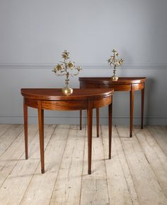 Card Table, Tea Table - Pair of Georgian mahogany demi lune tables. Georgian Furniture, Regency Furniture, New Furniture, Table Cards, Card Tables, Demilune Table, Circle Table, Georgian Interiors, Antique Dining Tables