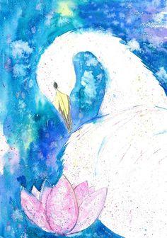 Olga Pavlova.Joy of Creation.: White swan. Watercolor painting.