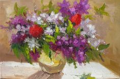 Lilac 20 x 30 Original Oil Painting Knife Colorful Flowers Lilac Purple White Red Bouquet Arangement Vase by Marchella