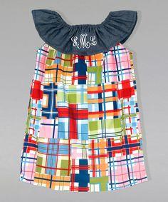 Red & Blue Plaid Monogram Ruffle Dress - Infant Toddler & Girls