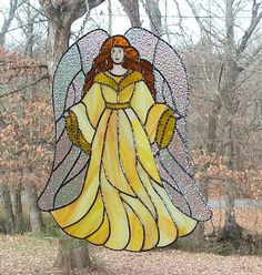 Stained Glass Angel Panel - Sunburst - Handcrafted in the USA