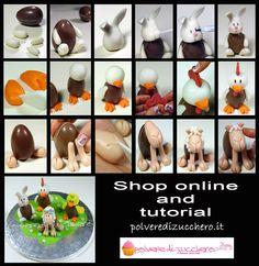 Tutorial for Easter: eggs decorated stepper farm animals Image Cake Decorating Tutorials, Egg Decorating, Sugar Art, Animals Images, Rainbow Dash, Biscotti, Stuffed Mushrooms, Cupcakes, Vegetables