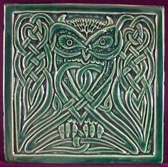 Handmade relief carved ceramic Celtic Owl by earthsongtiles by Hercio Dias