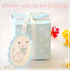 Free printable polka dot box and kitty tag