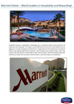 Marriott Hotels – World Leaders in Hospitality and Rewarding!