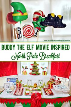 Buddy the Elf Movie Inspired North Pole Breakfast - Made by a Princess Buddy the Elf North Pole Breakfast is perfect for anyone who loves smiling, candy, candy canes, candy corn and syrup Elf Decorations, Elf Christmas Decorations, Christmas Party Themes, Christmas Signs Wood, Christmas Traditions, Xmas Party, Christmas Movie Night, Magical Christmas, Christmas Books