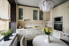 Egyszobás lakás igényes lakberendezése - ötletek zónák elkülönítésére tapétával, színekkel - 40m2, szép konyha - Lakberendezés trendMagazin