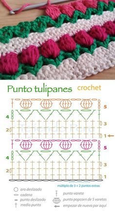 Tulip Stitch Free Crochet Pattern - My WordPress WebsiteFlower stitch is one of the most interesting stitch in the crochet world. If you are seeking for a for new stitches for your projects, here is the tulip stitch.Easy To Make Crochet Tulip Stitch Crochet Stitches Chart, Stitch Crochet, Crochet Motifs, Crochet Borders, Crochet Flower Patterns, Crochet Diagram, Crochet Designs, Crochet Flowers, Pattern Flower