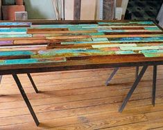 Painting Reclaimed Wood Furniture - Painted Barn Wood Dining Table Top Farmhouse Kitchen Table Bar Pin On Furniture Recycled Pink And Turquoise Dining Table Whimsical Painted Kitchen Tab. Painted Kitchen Tables, Farmhouse Kitchen Tables, Painted Tables, Rustic Farmhouse, Wood Table Bases, Pipe Table, Pallet Dining Table, Reclaimed Wood Furniture, Painted Furniture