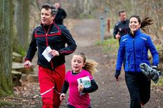 """sn.dk:  The Danish Crown Princely family participated in """"Find Your Way Day"""", an annual exercise day, in North Zealand, Denmark, April 5, 2014-Crown Prince Frederik, Crown Princess Mary, and Princess Isabella"""