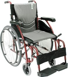 Karman Healthcare S115 Ergonomic Ultra Lightweight Manual Wheelchair Rose Red 18 Inches Seat Width * Find out more by clicking the VISIT button