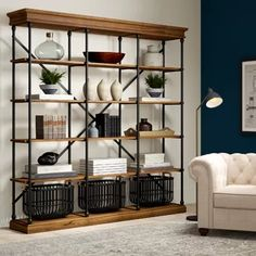 Greyleigh Poynor Library Bookcase Color: Antique White, Size: 84 H x 84 W x 15 D Metal Shelves, Shelving, Winery Tasting Room, Etagere Bookcase, Bedroom Bookcase, Barrister Bookcase, Open Bookcase, Regal Design, Iron Shelf